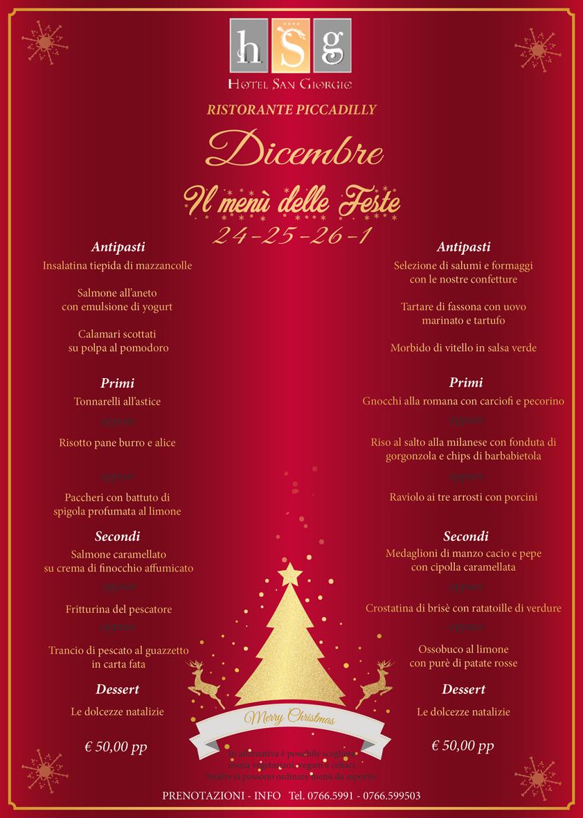 Menù Feste di Natale 2016 - Hotel San Giorgio
